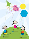 Kids with kites running happy hand drawn illustration Stock Photos