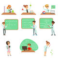 Kids In Lab Coats Doing Science Research Dreaming Of Becoming Professional Scientists In The Future Set Of Cartoon