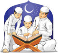 Kids learn to read al quran with their parent a vector set of children father drawn in cartoon style this vector is very good for Stock Photos