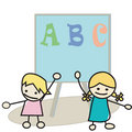 Kids learning alphabet Stock Photo