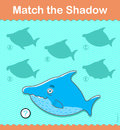 Kids learning game. Find the correct shark shadow