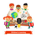 Kids learning together from big encyclopedia book a children education concept flat style vector illustration Royalty Free Stock Image