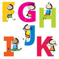 Kids with letters f-k