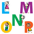 Kids with letters l-p