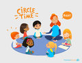 Kids listen and talk to friendly preschool teacher during educational activity in kindergarten. Learning through play Royalty Free Stock Photo