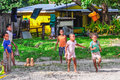 Kids in a local village in Mana Island, Fiji Royalty Free Stock Photo