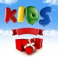 Kids logo font ballon collors paths save Stock Photos