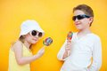 Kids with lollipops Royalty Free Stock Images