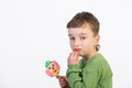 Kids with lollipops on a white background Royalty Free Stock Photo