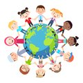 Kids love globe conceptual. Groups of children from all around the world join hands around the globe.