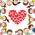 Kids love over white background illustration Stock Image