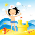 Kids love to build sand castel Royalty Free Stock Photo