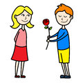 Kids lovers first date illustration of smiling kid giving a red rose to his girlfriend during their Stock Image