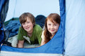 Kids lying in tent portrait of young Stock Photos