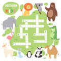 Kids magazine book puzzle game of forest animals logical crossword words worksheet colorful printable vector