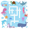 Kids magazine book puzzle game of sea underwater ocean fish and animals logical crossword worksheet colorful printable