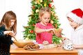 Kids  making Christmas cookies Royalty Free Stock Photo