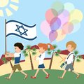 Kids marching with israel flag