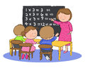 Kids in math class hand drawn picture of children classroom at school learning illustrated a loose style vector eps available Stock Images
