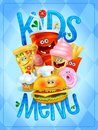 Kids menu card design with drink, ice cream, pizza, hot dog, french fries, hamburger, muffin and donut symbols Royalty Free Stock Photo