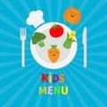Kids Menu card. Fork, plate, knife and chefs hat icon. Carrot, broccoli, tomato, pumpkin, corn vegetable face. Cute cartoon charac