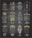 Kids menu chalkboard designs set.