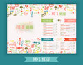 Kids menu Cute colorful hand drawn vector template. Kids menu design for party, cafe. Creative kids menu banner.