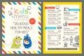 Kids menu vector template