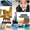 Kids and Money Collage Stock Photography