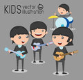 Kids and music, vector illustration of four kids in a music band, Children playing Musical Instruments