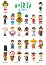 Kids and nationalities of the world vector: America. Royalty Free Stock Photo