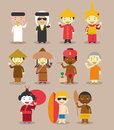 Kids and nationalities of the world vector asia and oceania australia set characters dressed in different national costumes Royalty Free Stock Photography