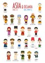 Kids and nationalities of the world vector: Asia and Oceania Set 2 of 2.