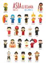 Kids and nationalities of the world vector: Asia and Oceania Set 1 of 2. Royalty Free Stock Photo