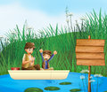 Kids and a notice board illustration of catching fish in river Royalty Free Stock Image