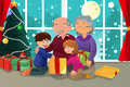 Kids opening christmas present from grandparents a vector illustration of happy Stock Image