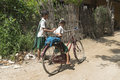 Kids in pagan go to the home the village myanmar burma Stock Image
