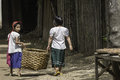 Kids in pagan goto the home the village myanmar burma Royalty Free Stock Image