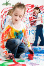 image photo : Kids paining
