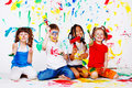 Kids with paintbrushes Royalty Free Stock Photo