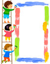 Kids painting a frame standing on ladder and colorful Stock Images