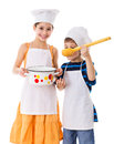 Kids with pan and big ladle Royalty Free Stock Photo