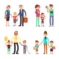 Kids and parents in happy family. Mom, dad and children vector flat characters set Royalty Free Stock Photo