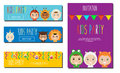 Kids Party Banners design template. Children in Animal Carnival Costumes. Party invitation mock up. Vector illustration Royalty Free Stock Photo