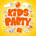 Kids party design template yellow Royalty Free Stock Photography
