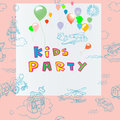Kids party invitation hand drawn card including pattern toys doodles scrapbook page over pink background Royalty Free Stock Photo
