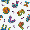 Kids pattern cat alphabet seamless for children Royalty Free Stock Photo