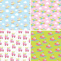 Kids patterns set with cute car, airplane, helicopter, ship. Flat texture collection. Perfect for baby fabric, wallpaper.