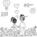 Kids pencil drawing of a couple from behind holding hands and dreaming black and white line Stock Image