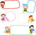 Kids and pencil illustration of cute Stock Photo